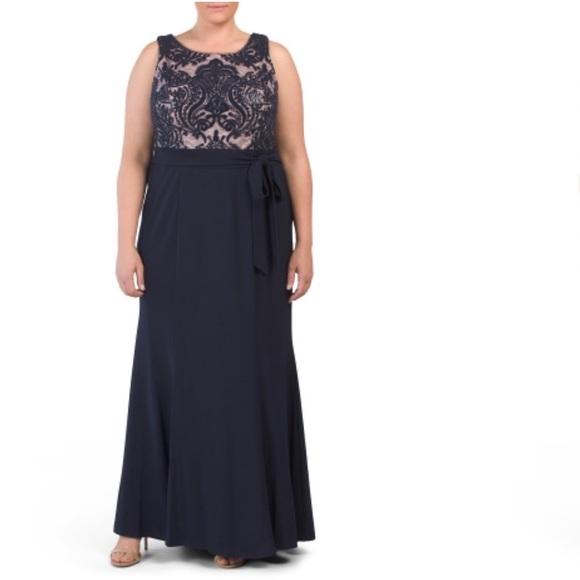 R&M Richards plus size gown